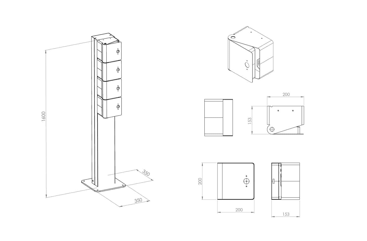 Dimensions des casiers de recharge welock