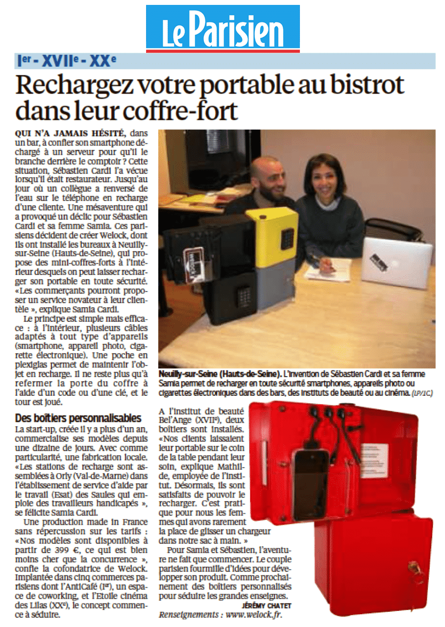 Article Welock Le Parisien