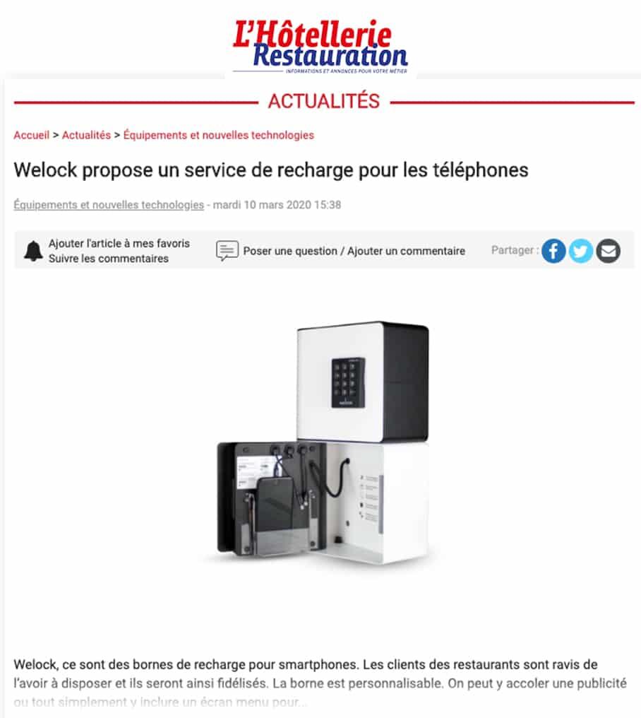 Article de presse de l'hotellerie restauration traitant de la borne de recharge pour téléphones welock